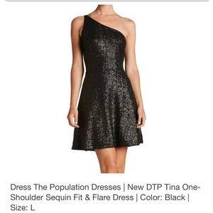 Black Sequin One Shoulder Cocktail Dress